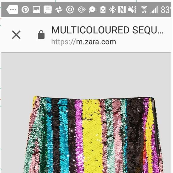 e8eb14cd8 Zara Skirts | Never Worn Multi Color Sequin Midi Skirt | Poshmark